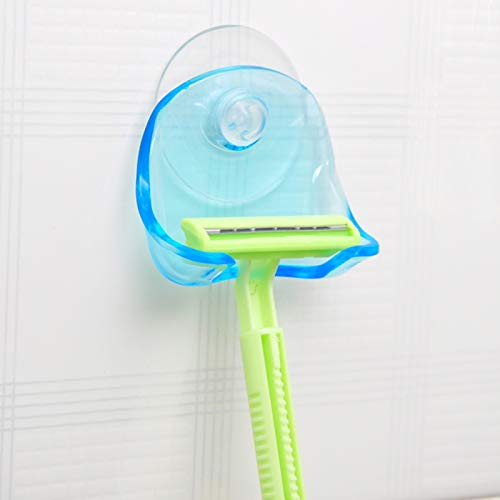 SJYX AYSMG Herramientas de Almacenamiento en el baño Ventosa Afeitadora Maquinilla Rack Holder de Almacenamiento Máquina de Afeitar Rack Gancho de Pared Perchas Lechón (Azul Claro)