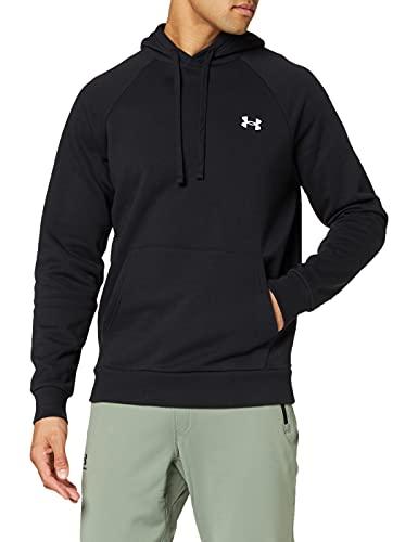 Under Armour UA Rival Cotton Hoodie T-Shirt, Nero (Black/Onyx White), S Uomo