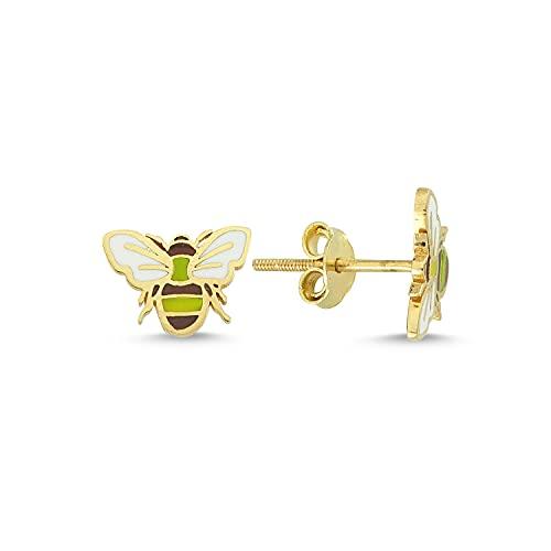 Pendientes de oro de 14 quilates (585) con esmalte de abeja mini para niños