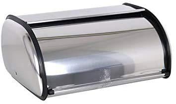 Portapane da tavolo classico argentato in acciaio inox per cucina, 35,5 x 23 x 14,5 cm, cromato