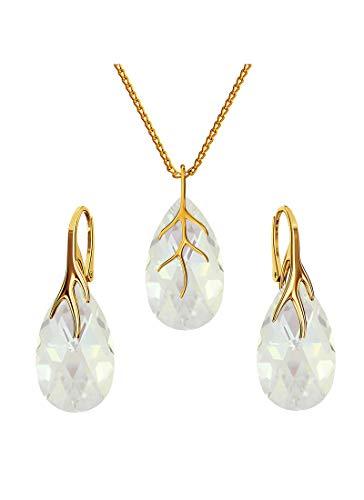 *Beforya Paris* Argento 925 placcato oro 24 K – Parure di gioielli da donna * rosa antico * gioielli con cristalli Swarovski Elements – orecchini e collana con confezione regalo BAP39