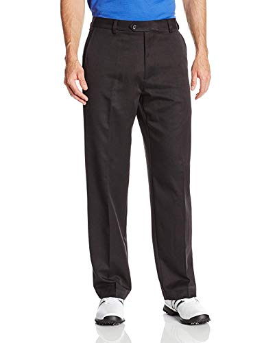 IZOD Men's Golf Microsanded Flat Front Classic Fit Pant, Black, 40W x 32L