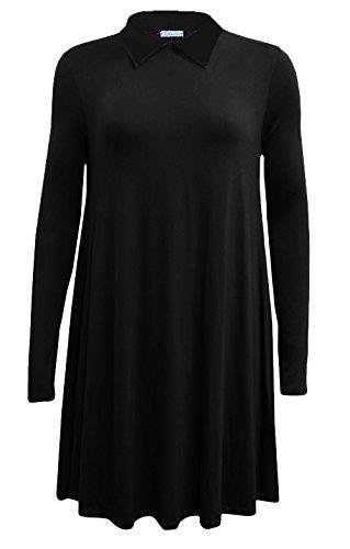 Fashion 4Less Langeärmliges Damenkleid mit Peter-Pan-Kragen in Plusgröße in Größen von 34 bis 52/54 Gr. XXL-46-48), schwarz