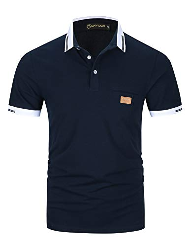 GHYUGR Poloshirts Herren Basic Kurzarm Baumwolle Polohemd Golf T-Shirt S-XXL,Blau 1,XL