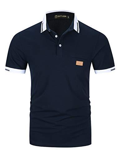 GHYUGR Poloshirts Herren Basic Kurzarm Baumwolle Polohemd Golf T-Shirt S-XXL,Blau 1,L