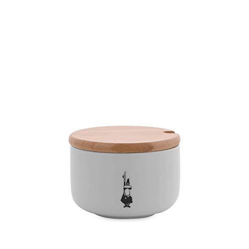 Bialetti Y0TZ102 Zuccheriera (con Coperchio Bamboo), Porcellana