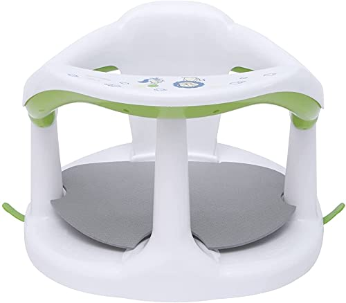 Babys Surround Bath Seat,Babys Shower Stool,Newborn Soft Sit-Up Bathtub Chair,Surround Bathroom Seats With Fixed Suction Cup,For Babys 6-18 Months (Color : White)
