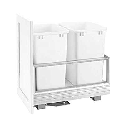 Rev-A-Shelf 5149-2150DM-211 22 x 15.63 x 23.5 Inch Double 50 Quart Pull Out Kitchen Cabinet Waste Container Storage with Trash Can, Wire Basket, and Rev-A-Motion, White from Rev-A-Shelf