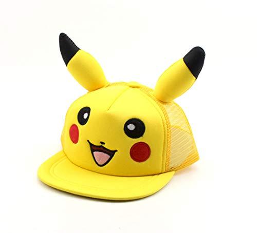 Pokémon Gorra de béisbol de dibujos animados pikachu hip hop sombrero para el sol 3-8 años de edad tapa de malla de los niños se puede ajustar