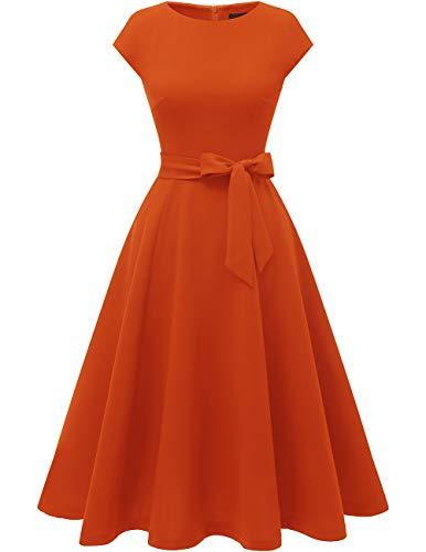 DRESSTELLS Midi 1950er Vintage Retro Rockabilly Kleid Damen elegant Hochzeit Cocktailkleid Orange 2XL