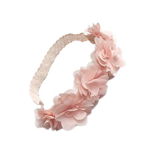 Guangcailun Kinder Neugeborene Kleinkind-Baby-Blumen-Stirnband-Neugeborene Spitze Haarband Rosa-Band-Haar-Bänder Handgemachte DIY Kopfbedeckung Kopf Zubehör