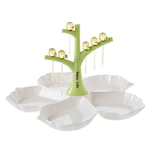 Bandeja de servir con forma de pájaros para comida y aperitivos verde