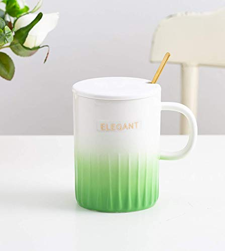 Light Luxury Office Large Capacity Coffee Cup Gradient Ceramic Cup with lid Spoon Creative Personality Simple Mark Cup
