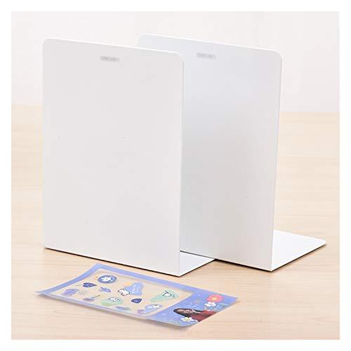 Agal Sujetalibros de Metal de 2 Piezas (Blanco,Morado),Extremos de Libro con 1 Pegatina de Bricolaje,sujetalibros Ajustable (Color : White)