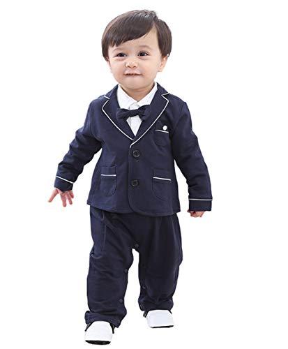 cool elves - 2 pcs Chaqueta de Bebés con Mono Recien Nacido para Bautismo Fiesta Boda con Pajarita Lindo - 3-6 Meses - Azul Marino