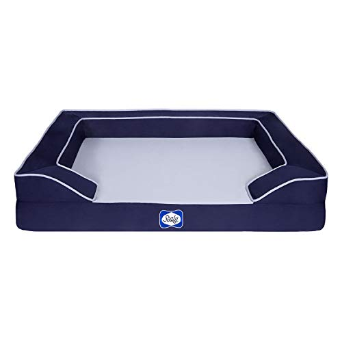 Sealy Lux Pet Dog Bed | Quad Layer Technology with Memory Foam, Orthopedic Foam, and Cooling Energy Gel. Machine Washable Cover. Large, Navy