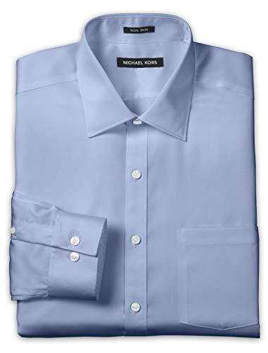 "Michael Kors Big and Tall Solid Dress Shirt, Blue 18.5"" Neck 34/35 Sleeve"