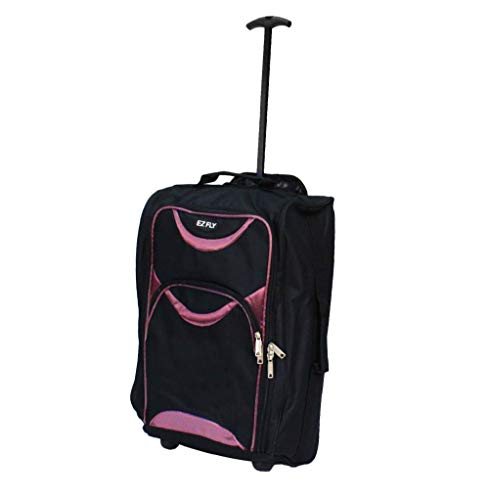 EZ FLY Lightweight Wheeled Hand Luggage Trolley Suitcase - Small Flight Cabin Bag (Pink)