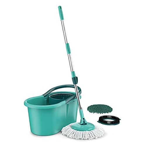 Mop Giratório 3 em1, balde com 12 litros e 3 opções de Refis, ( microfibra, tira pó e limpeza pesada) MOP8258, Flash Limp