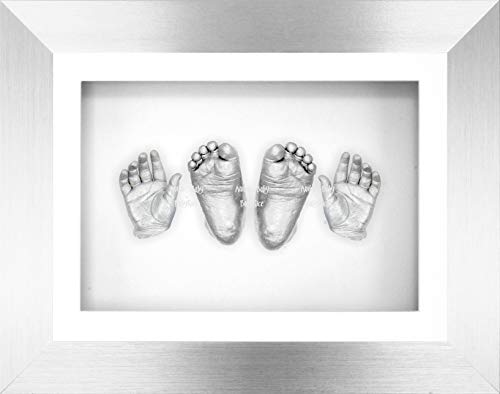BabyRice Large 3D Baby Casting Kit with 11.5x8.5 Silver Frame with Black Trim, New Christening Present Gift