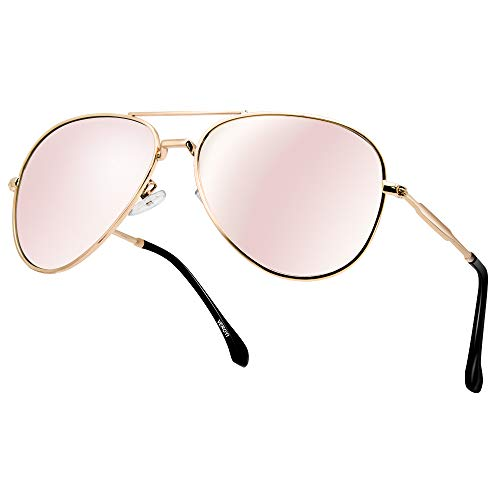 Polarized Aviator Sunglasses, Veroyi 9110-C4 Military Style Lightweight Sun Glasses for Women (Bobbi Pink)
