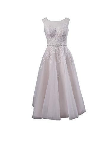 La_Marie Braut Weiss Spitze Brautkleider Hochzeitskleider Standesamt Brautmode Brautkleider Kurz Silberhochzeit kleider-38 Weiss