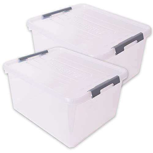 teprovo 2 cajas de almacenaje de diseño de plástico con tapa, 35 l, color gris transparente