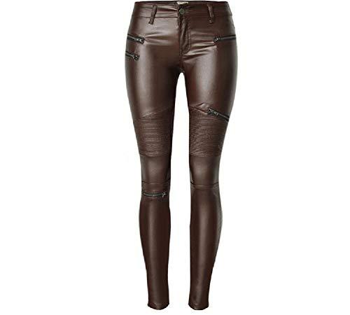 XSMG Dames Kleding Imitatie leer Jeans Broek Bruin Lage Taille SpliceMultiple Rits