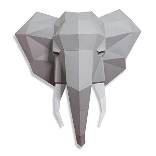 WLL-DP Cabeza De Elefante 3D DIY Origami Rompecabezas Modelo De Papel Papel Precortado Juguete Decoración De Pared Geométrica Escultura De Papel Artesanal De Papel Hecho A Mano