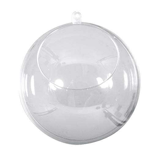 Rayher 39481800 Plastik-Kugeln, transparent, teilbar, 12 cm ø, mit Ausschnitt 7,5 cm ø, Set 4 Stück, zum befüllen, Acrylkugeln mit Aufhänge-Öse, Dekokugeln 2tlg., durchsichtig
