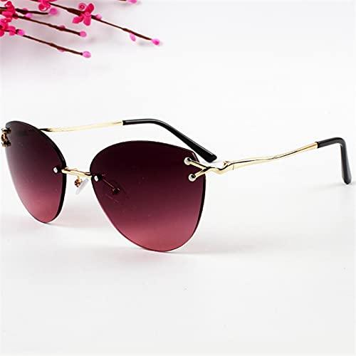 Gafas Sol De Hombre Mujer Polarizadas Sunglasses Gafas De Sol con Borde De Metal Moda para Mujer Gafas De Sol De Ojo De Gato Sin