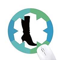 単純なパターン黒のブーツのシルエット 円形滑りゴムの雪マウスパッド