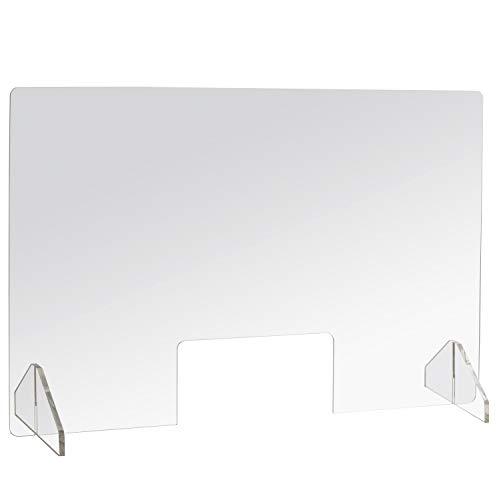 iSecur Thekenaufsteller mit Durchreiche aus Acryl-Glas I 100 x 75 cm quer I 5 mm Plexiglas I Mobile Trennwand I Zugriffsschutz I hin_598