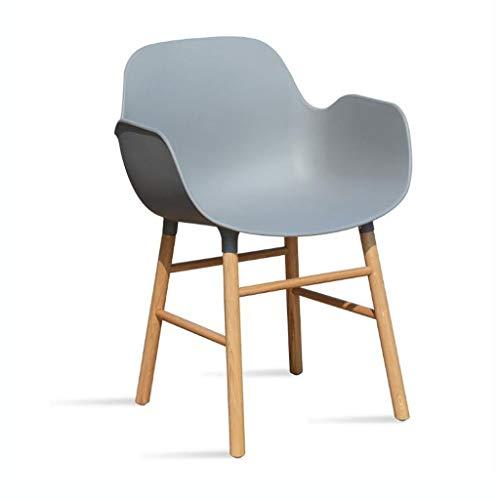 LYN QWER Barhocker, Moderne Esszimmerstühle mit den Armen Side Chair Molded Shell Plastikstühle mit Natural Wood Beine Stabile Struktur for Bar Restaurant Cafe (Color : Gray)