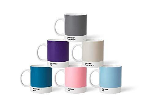 Pantone Porzellan Becher 6er-Set, 6 Kaffeetassen à 375 ml, coffee, mit Henkel, spülmaschinenfest, Pastellfarben