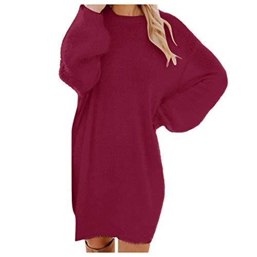 Alwayswin Frauen Winter Pulloverkleid Strick O-Ausschnitt Langärmliges Kleid Einfarbig Elegant Party Kleid Einfarbig Strickkleid Minikleid Mode...