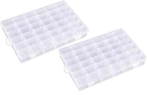Fuscia 2Pcs Combo 24 Grid Cells Multipurpose Clear Transparent Plastic Storage Box Large