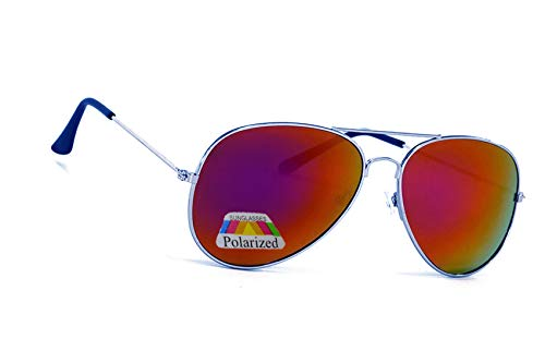 MFAZ Morefaz Ltd MFAZ Morefaz Ltd Kinder Junge Mädchen Sonnenbrille Gespiegelt Polarisiert Pilot Style Sunglasses (Purple Gespiegelt)