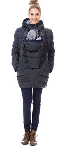 GoFuture Damen Tragejacke für Mama und Baby 4in1 Känguru Jacke Umstandsjacke Daunen Winter Noorvik GF2318XA5 Marine mit blauem Innenfutter