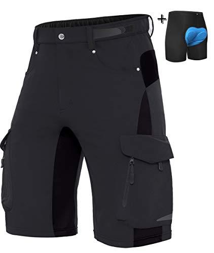 XKTTAC Herren MTB Kurz Hose, Mountain Bike MTB Shorts Fahrradhose für Herren (Schwarz+Pad, XL(Taille:34''-36''/86-91.5CM))