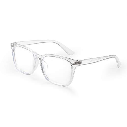 Aroncent Sichtbrille für Herren und Damen, UV-400, Anti-Licht, Blau, robust, quadratisch, transparent, bequem, Weiß