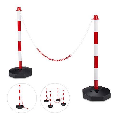 Relaxdays Kettenpfosten H x B x T: ca. 82 x 56 x 28 cm 2x Absperrpfosten aus Kunststoff mit praktischer Absperrkette als Sperrpfosten mit stabilem Standfuß befüllbar mit Wasser und Sand, rot-weiß