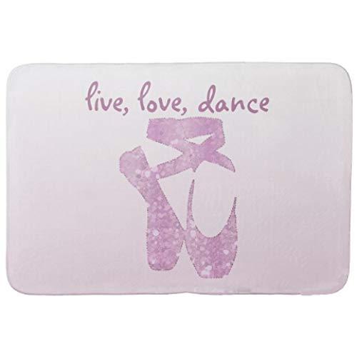 HSXQQ Roze Glitter Ballet Deur Mat Stijlvolle Ballet Dans Live Liefde Dans Deurmat Tapijt Leuk Verjaardagscadeau voor Ballerina Meisje