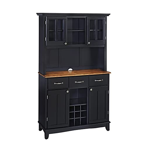 Home Styles 5100-0046-42 Buffet of Buffets Cottage Oak Wood Top Buffet with Hutch, Black Finish, 41-3/4-Inch