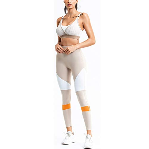 PAOFU-Women's Sports Gym Yoga Fitness Workout Active Wear Joggingpakken Training Bra En Legging Pants Set,White,S