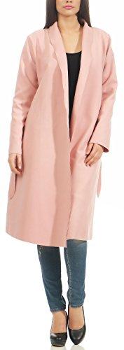 malito Damen Mantel lang mit Wasserfall-Schnitt   Trenchcoat mit Gürtel   weicher Dufflecoat   Parka - Jacke 3050 (rosa)