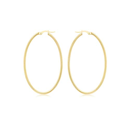 Carissima Gold 9ct Yellow Gold Slim Tube Oval Creole Earrings