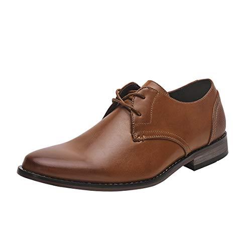 COLGO Oxford Shoes for Men, Lace up Classic Leather Dress Shoes Business Derby Shoes (11 M US, Brown/Plain Toe)