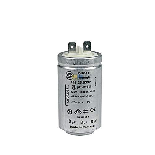 Anlaufkondensator Motorkondensator 8 µF uF 450V DUCATI energia 416.25.5392 mit Steckfahnen für Wäschetrocknern Electrolux AEG 125002033/4 125002033