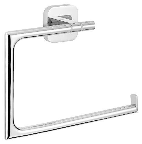 tesa ELEGAANT Handtuchring, edles Design, inkl. Klebelösung, Metall, verchromt, garantiert rostfrei, 154mm x 185mm x 45mm